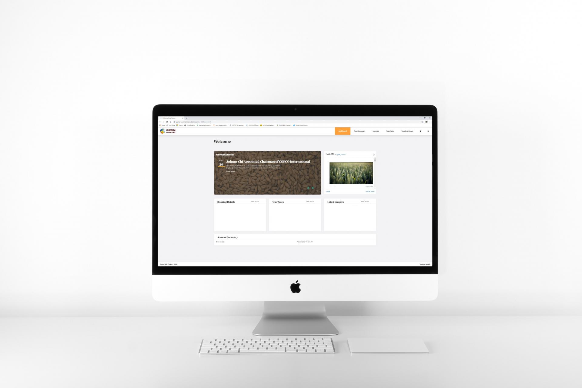 Image of computer displaying COFCO UK Farmers Portal